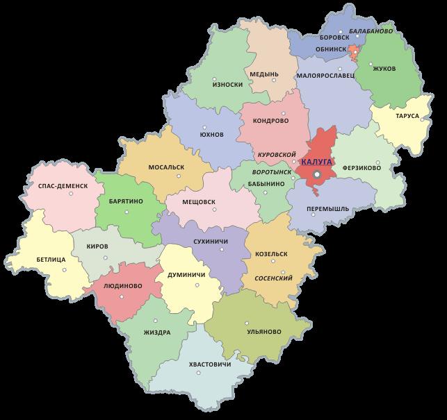 Карта районов Калужской области
